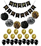 Pastel Perfection Black and Gold Foiled Happy Birthday Bunting Banner, Birthday Decorations.Pom pom and balloon , Bunting Birthday Banner
