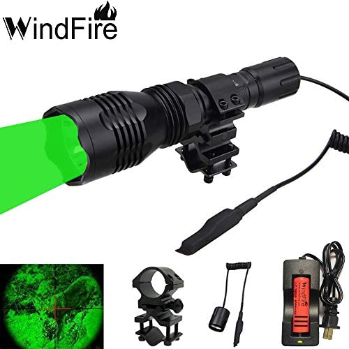 WINDFIRE WF-802 Green LED Coyote Hog Hunting Light Set 350 Lumens Tactical Flashlights 250 Yard Long Range Throwing Green LED Light Pressure Switch Barrel Mount