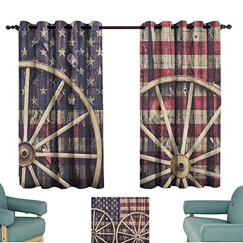 ParadiseDecor Western,Blackout Curtains Grommet Antique Cart Carriage Wheels with American Flag in Retro Vintage Colors New World Print 52