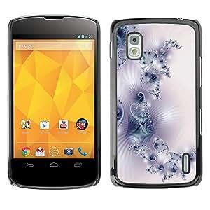 TopCaseStore / la caja del caucho duro de la cubierta de protección de la piel - Pattern Wallpaper Art White Purple Light - LG Google Nexus 4 E960