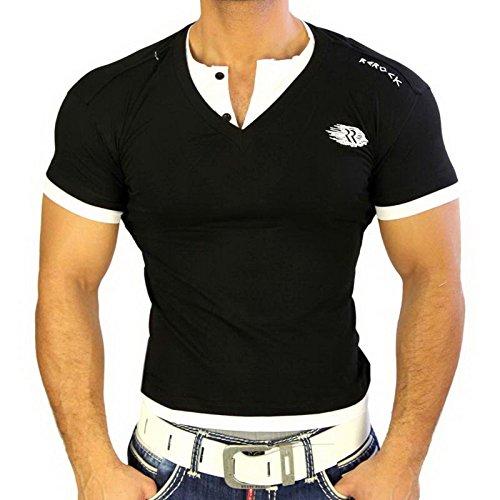 ReRock Herren Poloshirt Japan Style Kurzarm T-Shirt Schwarz/Weiß 1680