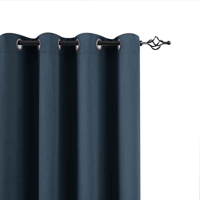 Blackout Curtains for Living Room 95 inches Length Bedroom Light Blocking Window Curtains Triple Weave Room Darkening Curtain Panels Thermal Insulated Grommet Top Drapes, Navy Blue