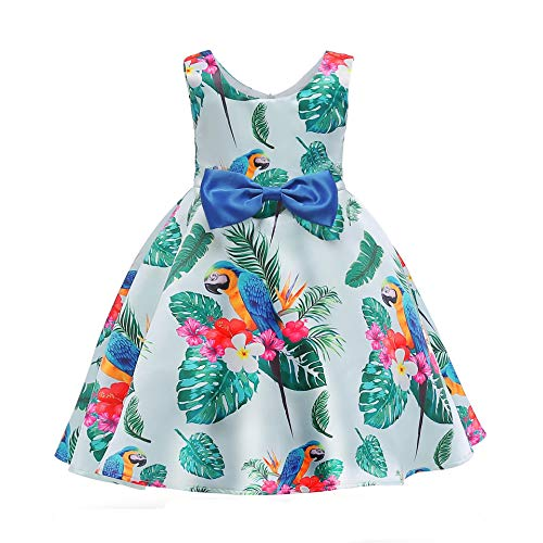 YRE Spring and Summer Girl Sleeveless Dress, Small Child Parrot Printed Princess Children's Skirt Dress, Comfortable Leisure Girl Butterfly Knot Children's wear, 3-9 Years Old,120# -