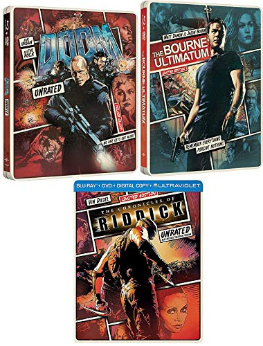 Sci-Action Special Triple Steelbook Bourne Ultimatum Matt Damon + Doom Rock & Chronicles of Riddick Vin Diesel DVD + Blu Ray 3 Feature electrifying FILm Collectible Pack