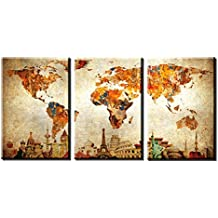 "QICAI Large 30""x 60"" 3 Panels 30x20 Ea Art Canvas Print Original Wonders of the World Old Paper Map Vintage Wall Decor Home Interior"