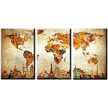 Amazon.com: Xlarge World Map Canvas Art, Vintage Map Poster Printed ...