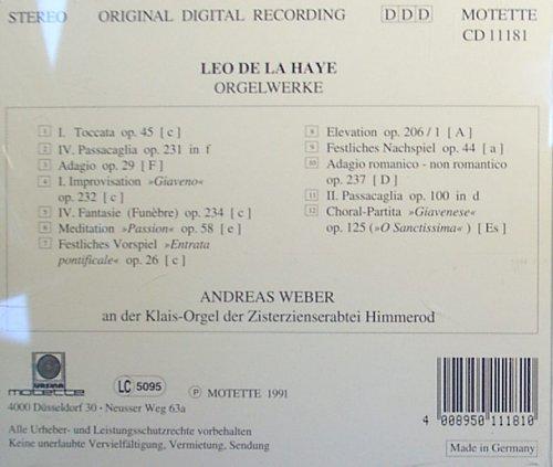 Leo de la Haye, Andreas Weber - Leo de la Haye: Organ Works - Amazon ...