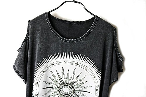 Damen Bluse Shirt Shirt Damenbluse Aufdruck Kurzarm Ärmellos Tassel Punk Hippie