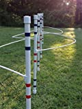 Dog Agility Equipment weave poles (set of 6) with guide wires by DogAgilityShop
