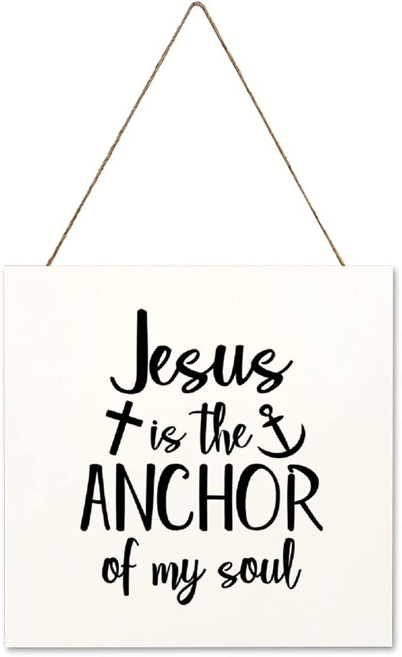 by Unbranded Jesus is The Anchor of My Soul,Christian,Quote Modern Farmhouse Wall Decor Wood Sign 12×12×0.2 inch