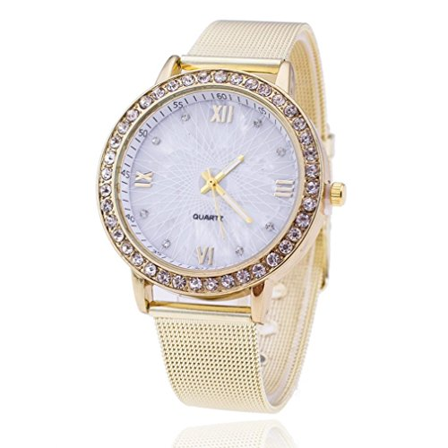 Geneva Stainless Steel Bracelets (Dressin Women's Geneva Watch, Fashion Women Classic Diamond Stainless Steel Analog Quartz Wrist Watch Mesh Bracelet Watch (White))