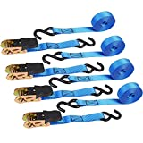 Ohuhu Ratchet Tie Down Straps - 4 Pack - 15 Ft - 500 Lbs Load Cap with 1500 Lb Breaking Limit, Cargo Car Truck Roof Rack Rachet Strap Set for Lawn Equipment, Moving Appliances, Motorcycle - Blue