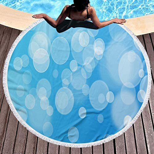 Blue Terry Bubble Beach Towel - Perfectly Customized Round Beach Towel Blanket Bubbles Blue Microfiber Terry Circle Tablecloth or Picnic Throw, Multi-Purpose Indian Meditation Rug Mat for Yoga Large 59 Inches