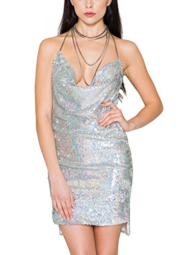 Metal Womens Skirt (S Curve Women's Off Shoulder Chain Halter Sequin Backless Mini Dress Silver Large)