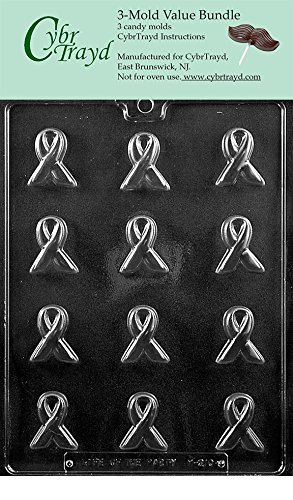 Ribbon Chocolate Mold - CybrTrayd M210-3BUNDLE Bite Size Awareness Ribbon Chocolate Candy Mold with Exclusive Copyrighted Chocolate Molding Instructions