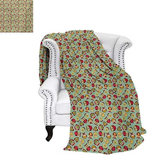 (warmfamily Owls Summer Quilt Comforter Cheerful Sweet Childhood Theme Stylized Ornate Birds Nostalgic Vintage Kids Pattern Digital Printing Blanket 70