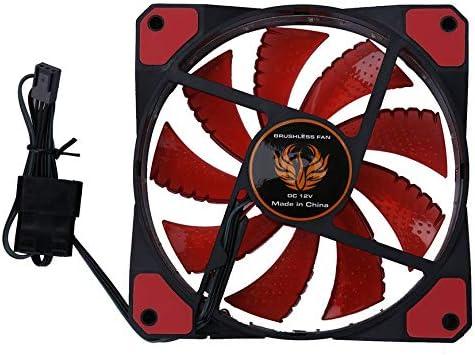 Pudincoco 120 mm LED Ultra silencioso Ordenador Ventilador de la Caja de la PC 15 LED 12V con Conector silencioso de Goma Molex Conector de fácil instalación (Negro)