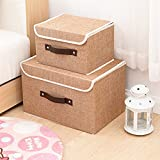 Larger&Small Multifunction Foldable Polyester Linen Canvas Storage Containers,Convenient Cubes Basket Storage Bin with Lid for Clothing,sock,underwear,Toys,Books,Art,Craft supplies ect (Khaki)