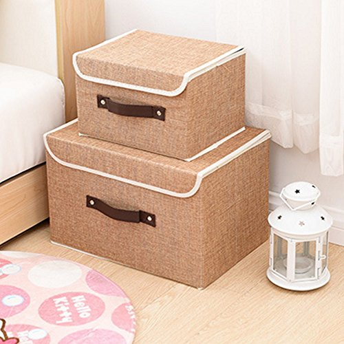 Larger&Small Multifunction Foldable Polyester Linen Canvas Storage Containers,Convenient Cubes Basket Storage Bin with Lid for Clothing,sock,underwear,Toys,Books,Art,Craft supplies ect (Khaki) (Decorative Storage Baskets With Lids)