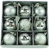 Set of Nine Silver Christmas Tree Baubles (6cm)