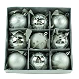 Set of Nine Silver Christmas Tree Baubles (6cm)