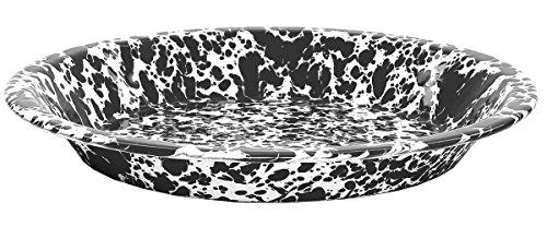 Enamelware Pie Plate, 9 inch, Black/White Splatter