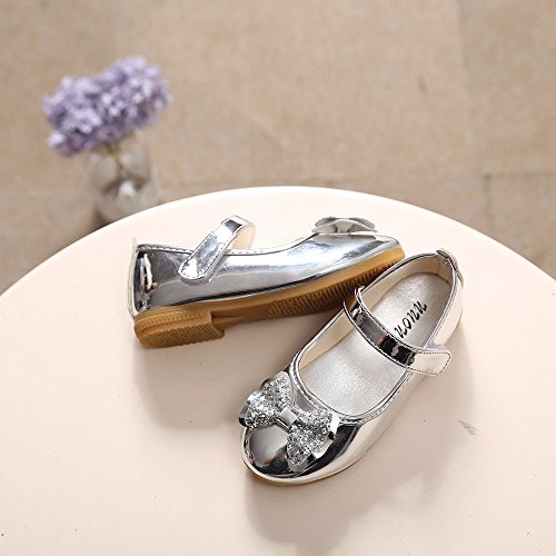 Sparkle Princess Shoes for Girls Sequin Bowknot Flat Shoes Children Velcro Shinning Shoes Mary Jane Princess Party Dress Shoes for Toddlers & Girls by DaoAG - Shoes (Image #6)