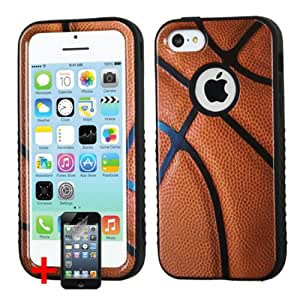 APPLE IPHONE 5C BROWN BASKETBALL SPORT HYBRID COVER HARD GEL SNAP ON CASE + SCREEN PROTECTOR from PREFERRED FASHION NETWORK