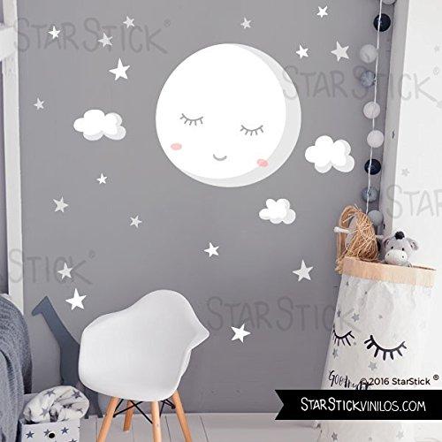 Vinilo para bebé - Luna llena con estrellas. Luna blanca - T0- Basico 80x40 cm