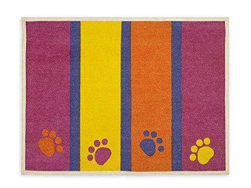 Buddy's Line Fashion Forward Pet Placemat, Paws and Stripes