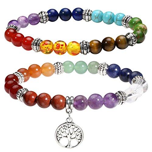 Eigso 2Pcs Set 7 Chakra Womens Reiki Healing Meditation Crystal Stone Beads Bracelet with Tree of Life Symbol Sign