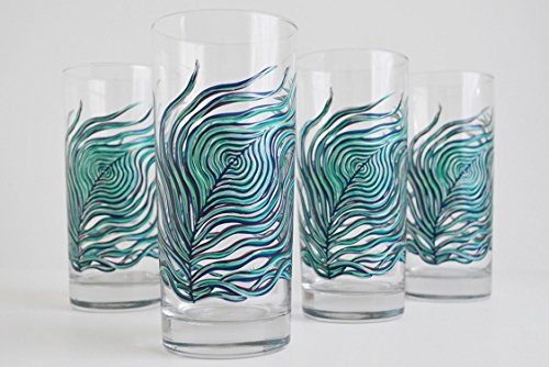 Peacock Feather Glassware - Set of 4 Hand Painted Glasses, Mother's Day, Gift for Her