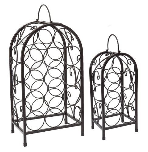 Old Dutch 14-Bottle and 7-Bottle Wine Racks, Matte Black, Set of 2