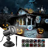 Snowflake Projector Lights Outdoor, OxyLED 12 Slides Landscape Projection Lights, Waterproof LED Projection Lamp for Halloween...