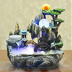 Jeteven Indoor Tabletop Fountains Bonsai Resin Rockery Water Well Humidifier Parts with Rotating Ball Color Charging Decorative Sculpture for Living Room Office