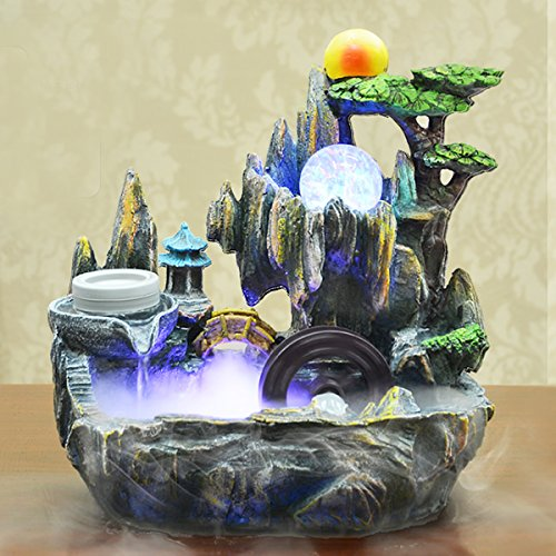Jeteven Indoor Tabletop Fountains Bonsai Resin Rockery Water Well Humidifier Parts with Rotating Ball Color Charging Decorative Sculpture for Living Room Office by Jeteven