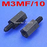 Nut & Bolt - (1000 pcs/lot) 10mm/0.39'' Black Nylon M3 Threaded Hex Male-Female Standoff Spacer.