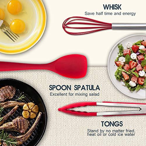Compra Conjunto de utensilios de cocina de silicona TFENG, 10 piezas de herramientas de cocina, resistente al calor y espátulas antiadherentes de cocina ...