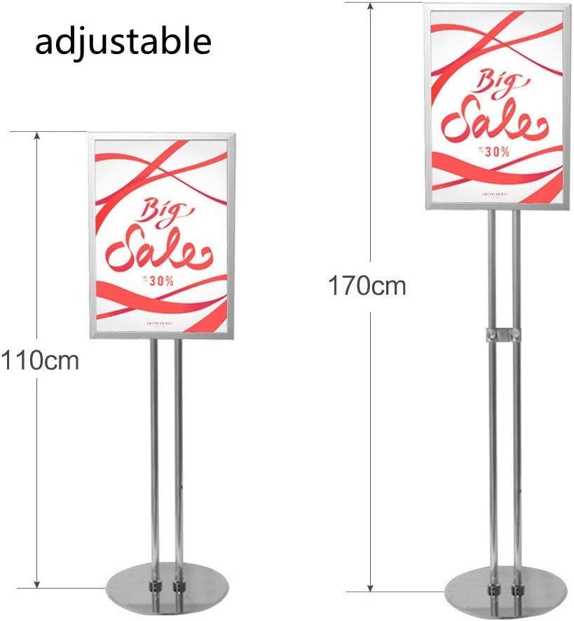 掲示板・コルクボード フロア立ち広告表示は、耐久性に優れたメタル活動インフォメーションディスプレイスタンド調節可能なダブルポールポスターフレームをスタンド 掲示板と看板 (Color : Silver, Size : 30 x 110cm)
