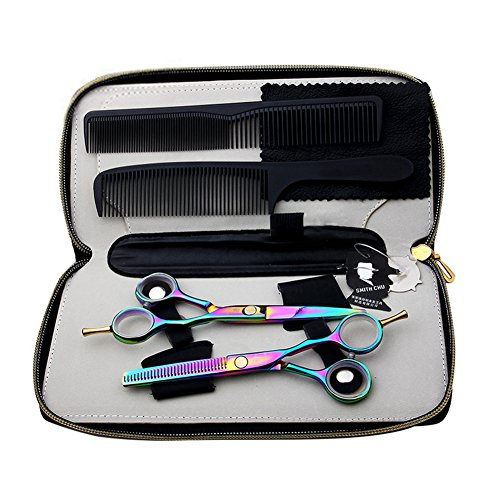 "Price comparison product image Surker 5.5"" Professional Barber Razor Edge Titanium Coated Hair Cutting and Texturizing Shears / Scissors Set"
