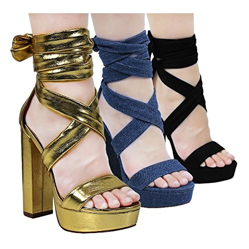 c312330ed2e Liliana Shoes Women s Tie-Up Soft Heels Gold Yuko 9 Size 8.5