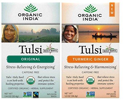 Tulsi Original Tea (Organic India Tulsi Organic Non-GMO Caffeine-Free Tea 2 Flavor Variety Bundle: (1) Organic Original Tulsi Tea, and (1) Organic Turmeric Ginger Tulsi Tea, 1.14-1.2 Oz. Ea.)