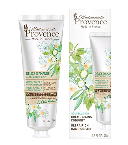 Mademoiselle Provence Natural Organic Sweet Almond Ultra-Rich Vegan Hand Cream with Orange Blossom Extracts, Dry Sensitive Skin Shea Butter Hand Moisturizing Lotion, Dermatologist Tested 2.5 fl oz ()