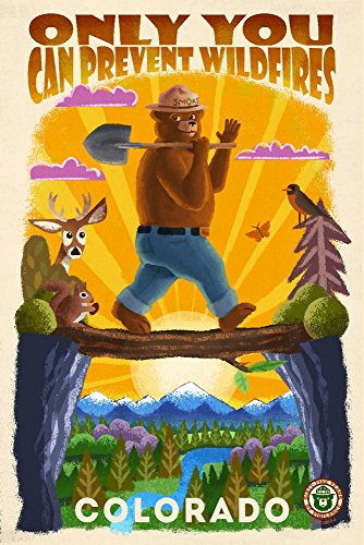 Colorado - Smokey Bear and Friends - Only You Can Prevent Wildfires - Mid-Century Inspired (12x18 Art Print, Wall Decor Travel Poster) ()