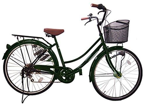 Lupinusルピナス 自転車 26インチ LP-266UA 軽快車 シマノ外装6段ギア オートライト ブラックリム装備 100%完成車 B003BDVM7S グリーン グリーン