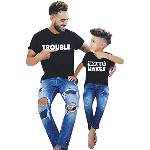 Trouble & Trouble Maker Family Match Shirt - Franterd Mom&Me Dad&Me Letter T-Shirt Parent-Child Matching Summer Tops (S, (Baby Daddy Halloween Special)