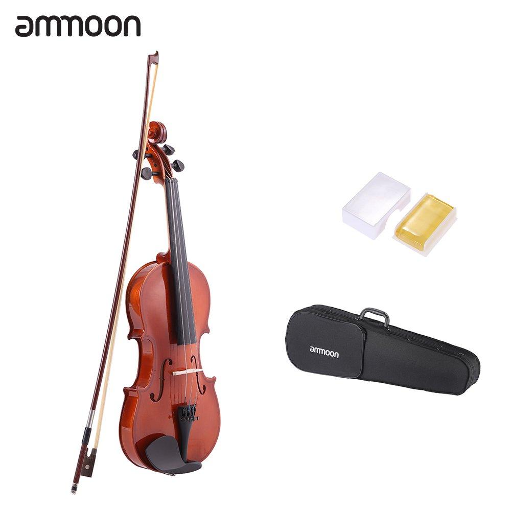 ammoon - Violín Acústico de Acabado Natural con Cuerpo Hecho de Madera de Abeto
