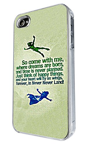 iphone 4 4S Cool Cartoon never land Quote Come With Me Design Fashion Trend Hülle Case Back Cover Metall und Kunststoff