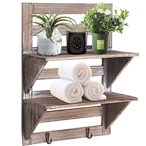 RHF Rustic Farmhouse Decor, Bathroom Shelves of Real Wood, Pallet Shelf, Wood Storage Shelving Rack-2 Tier, Bathroom Shelf & Bathroom Decor, Wall Mounted Wood Rack with 2 Hooks, Nails Included For Sale