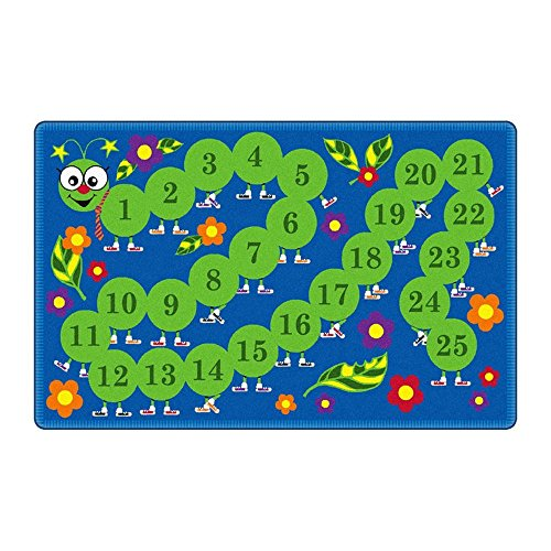Flagship Carpets FE106-34A Counting Caterpillar, Count from 1-25 on This Bright Primary Colored Carpet, Children's Classroom Educational Carpet, 6' x 9', 72